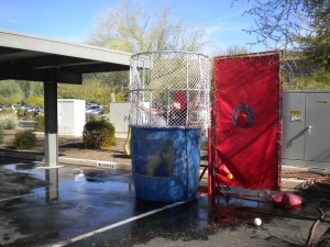 safeguard security dunk tank, charitable dunk tank, school donation, philanthropic company example